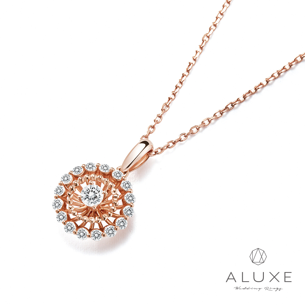 A-LUXE 亞立詩 總重0.45克拉 Flora 18K金浦空英美鑽項鍊