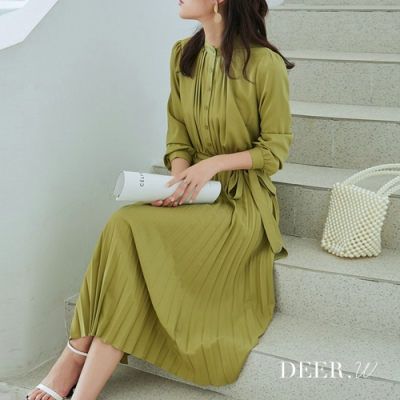 DEER.W 立領綁帶百褶雪紡洋裝(綠)