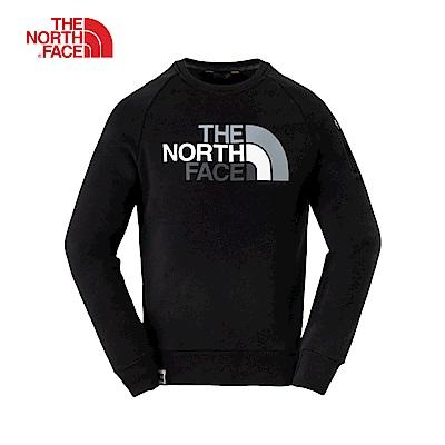 The North Face北面男女通用款黑色羅紋長袖上衣 3L6UJK31