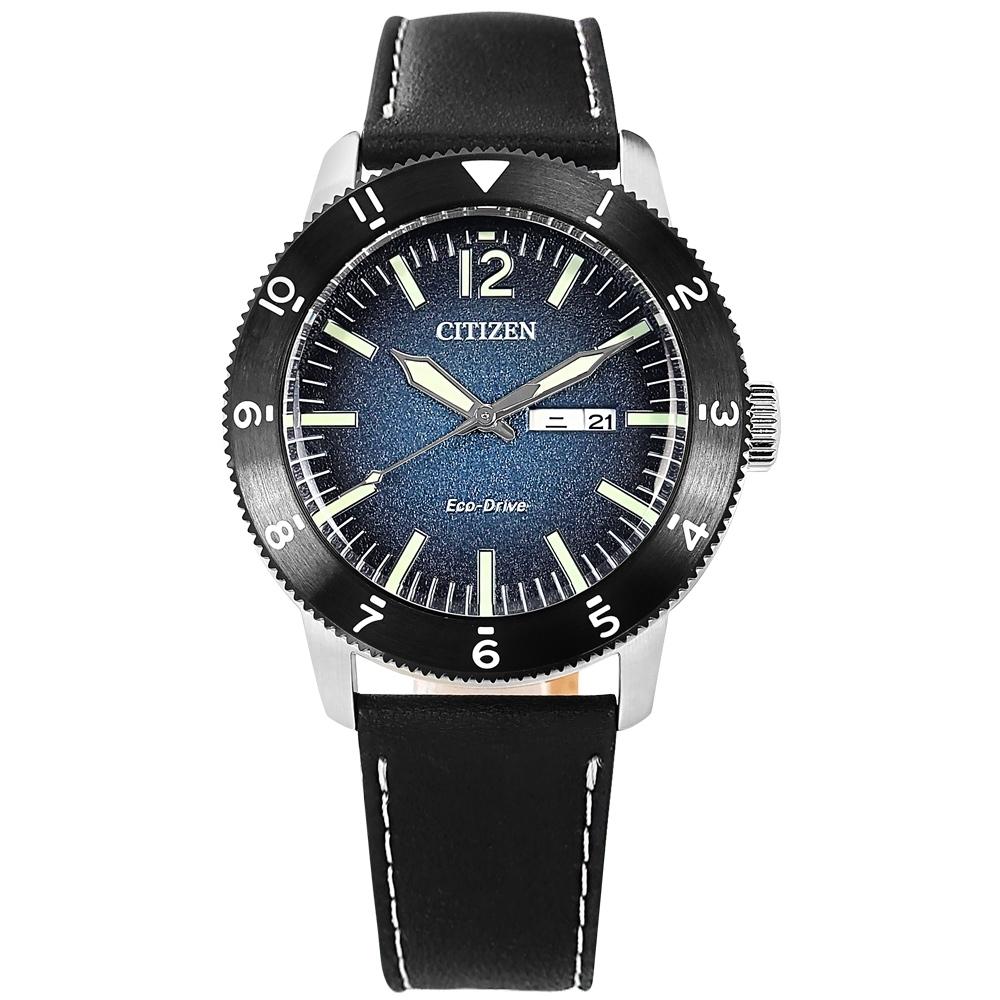 CITIZEN  光動能 潛水風 星期日期 防水100米 小牛皮手錶-藍x銀框x黑/44mm