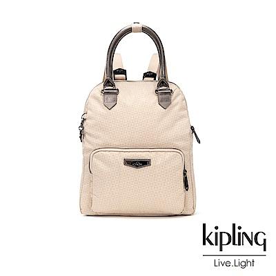 Kipling 簡約杏色素面手提雙肩後背包-BAGTRACK