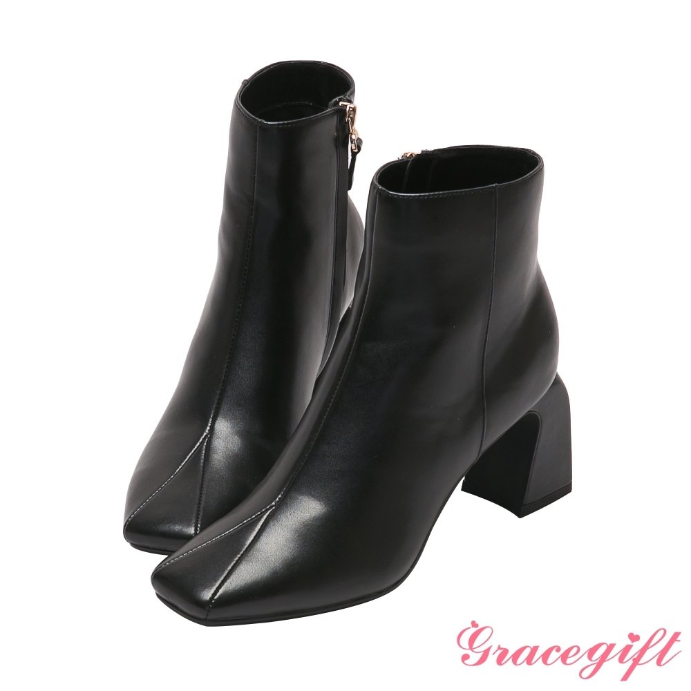 Grace gift X唐葳-聯名素面方頭高跟短靴 黑