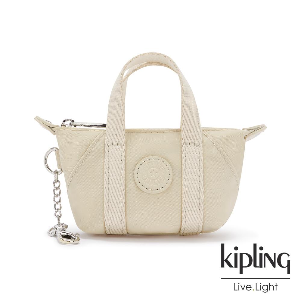 Kipling 閃亮象牙粉迷你包款吊飾-MINI ART