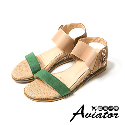 Aviator*韓國空運。麂皮撞色一字寬帶編織楔型涼鞋-綠