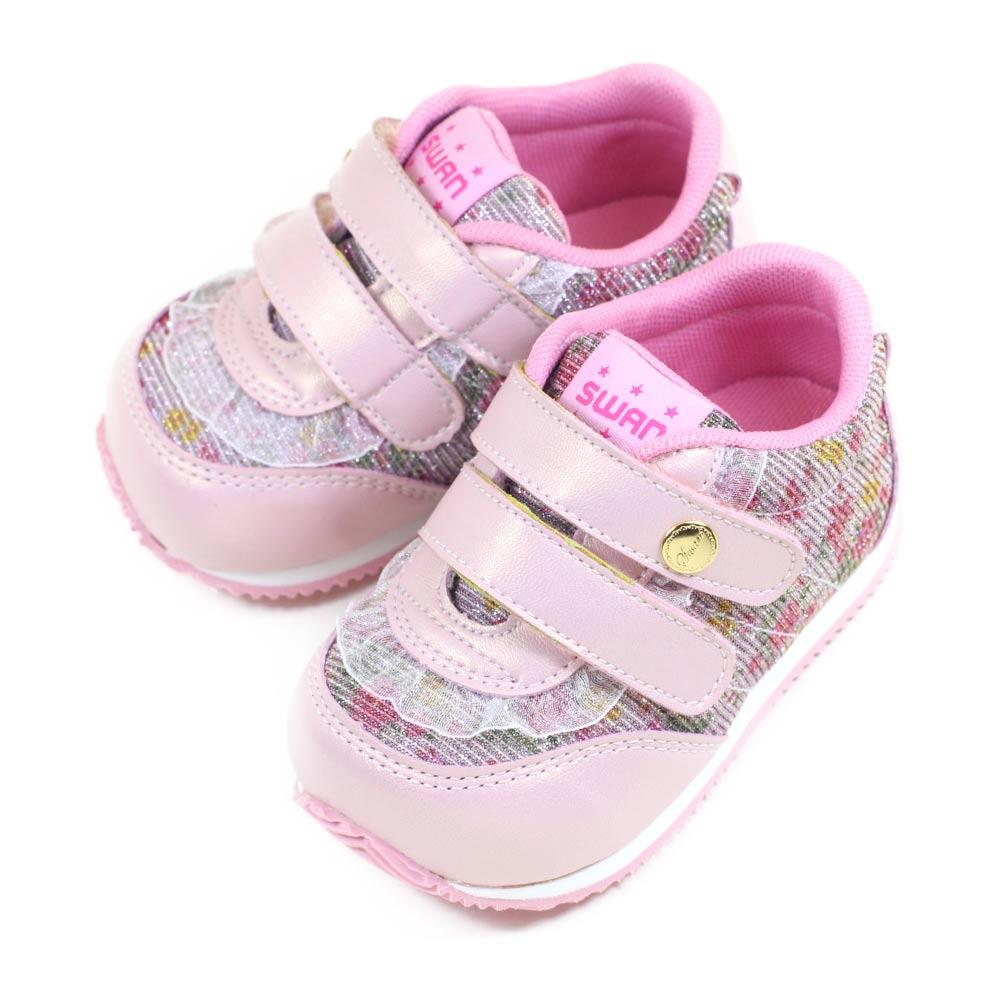 Swan天鵝童鞋-蕾絲碎花小童機能學步鞋 1565-粉