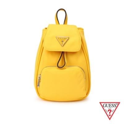 GUESS-女包-俏皮簡約純色迷你後背包-黃 原價2290