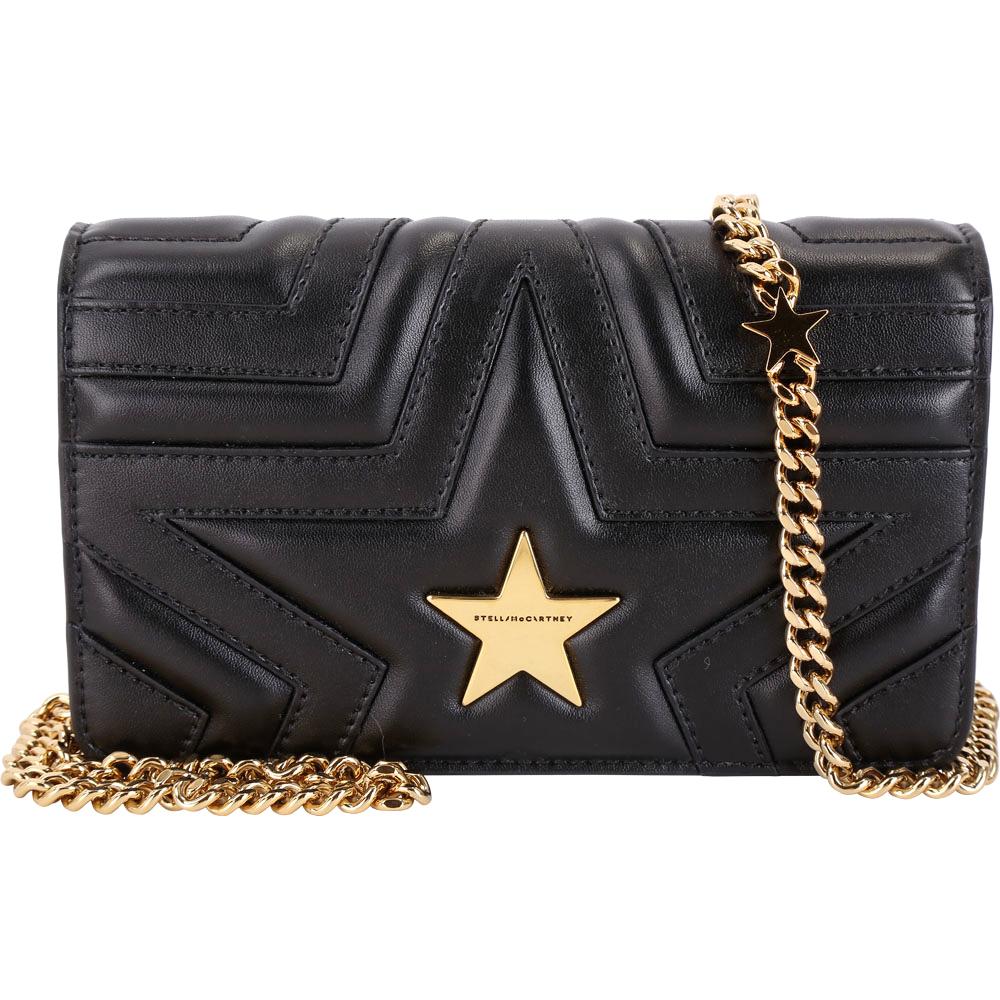 Stella McCartney Star WOC 小款星型絎縫手拿鍊帶包(黑色/金鍊)