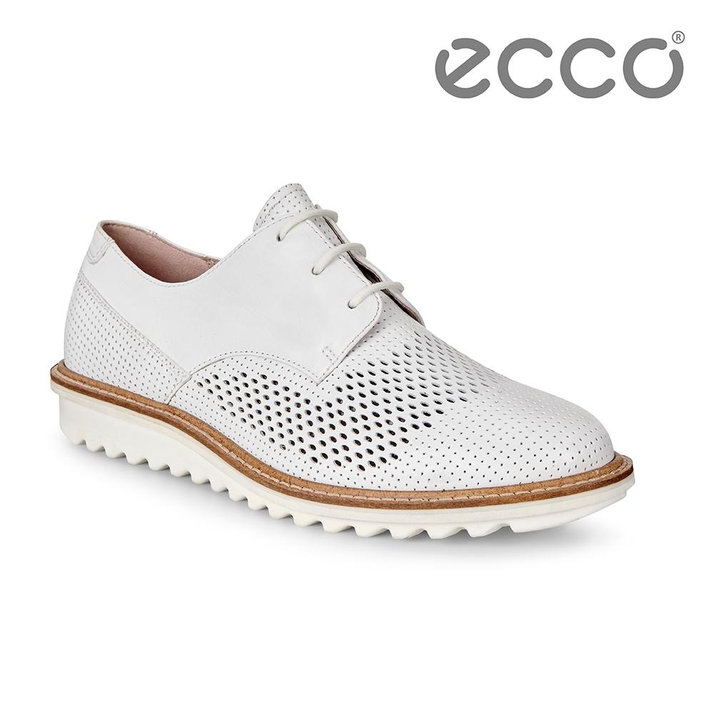 ECCO TOUCH FLATFORM 英倫鏤空休閒鞋 女-白
