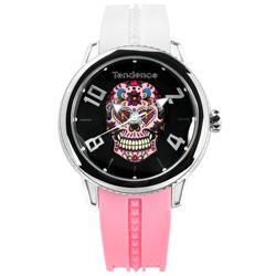 Tendence 天勢錶 墨西哥骷髏弧型礦石強化玻璃防水撞色矽膠手錶-黑x白粉/47mm