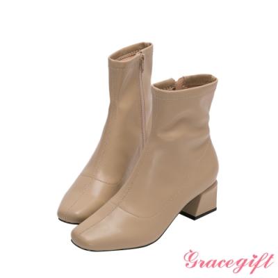 Grace gift-微方頭造型中跟短靴 卡其