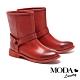 短靴 MODA Luxury 仿舊漸層刷色質感釦帶裝飾低跟短靴-紅 product thumbnail 1