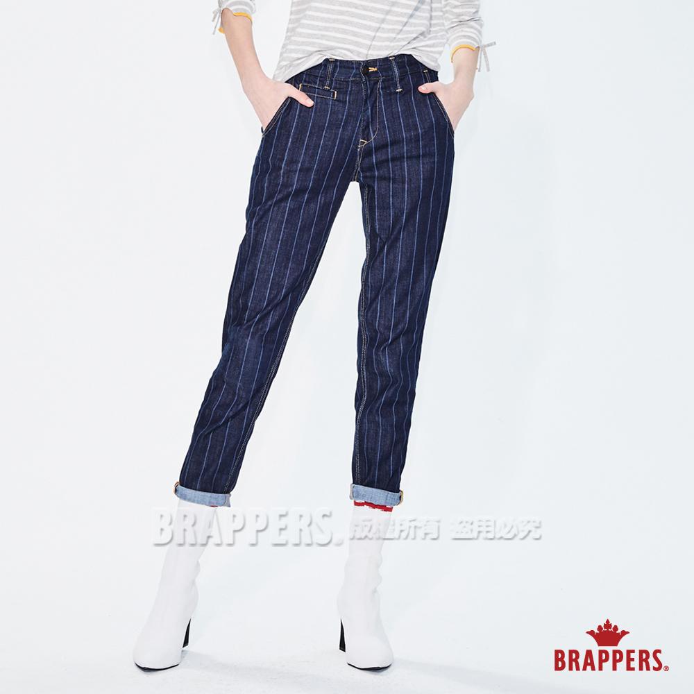 BRAPPERS 女款 Boy friend 系列-中低腰彈性雷射條紋八分褲-藍