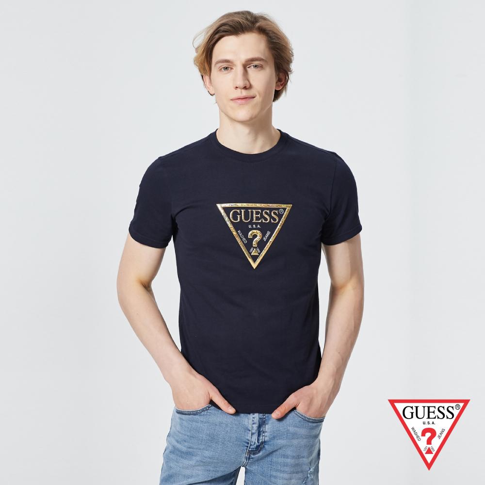 GUESS-男裝-個性金色PVC印刷LOGO短T,T恤-深藍 原價1390