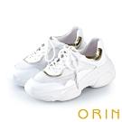 ORIN 復古潮流 牛皮拼接網布時尚厚底老爹鞋-白色