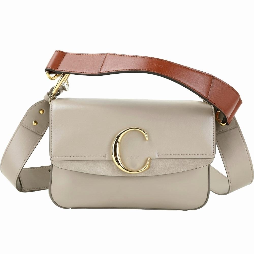 CHLOE C Bag 展示品 小款 牛皮拼接麂皮灰色翻蓋兩用包(原廠雷射標籤掉落)
