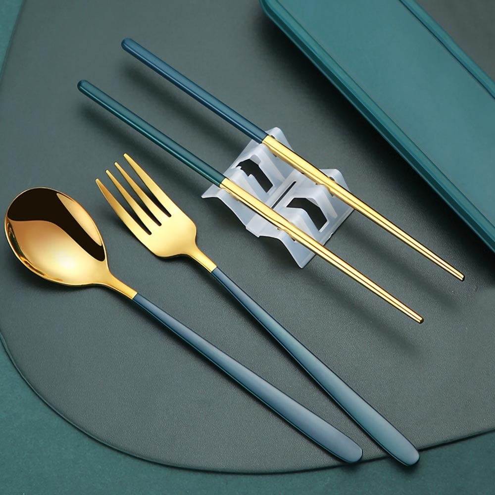 304不銹鋼歐式便攜鈦金餐具四件組(贈冰格杯顏色隨機)(快)