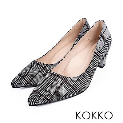 KOKKO - 都會時尚羊皮粗高跟鞋-英倫格紋