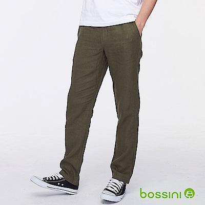 bossini男裝-棉麻輕便長褲軍綠色
