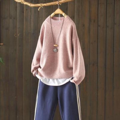 軟糯溫和素色馬海毛半高領毛衣寬鬆針織衫-設計所在