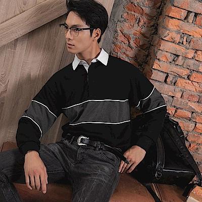 寬鬆感橫條紋長袖POLO衫-OB大尺碼