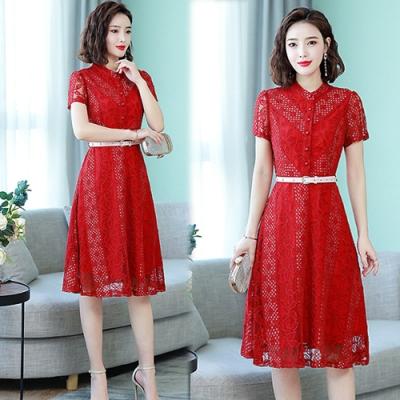 【韓國K.W.】流行穿搭涼感夏日蕾絲洋裝-2色
