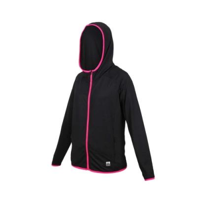 FIRESTAR 女彈性連帽防曬外套-慢跑 路跑 連帽外套 排汗 反光 JL577-10 黑桃紅