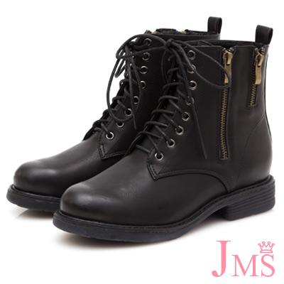 JMS-率性拉鍊造型8孔綁帶馬丁短靴-黑色