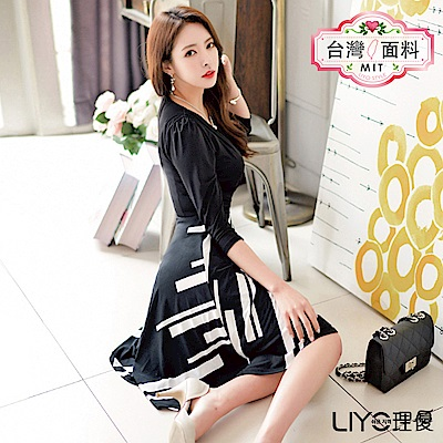 LIYO理優MIT印花拼接洋裝