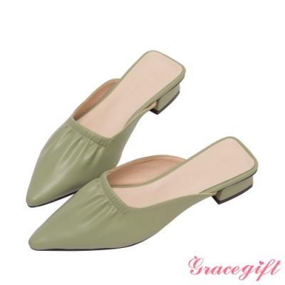 Grace gift-尖頭抓皺低跟穆勒鞋 綠