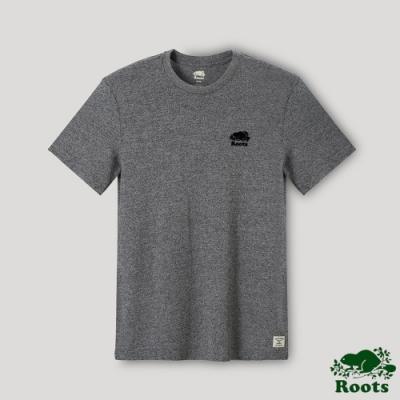 Roots男裝-經典椒鹽灰海狸LOGO短袖T恤-灰色