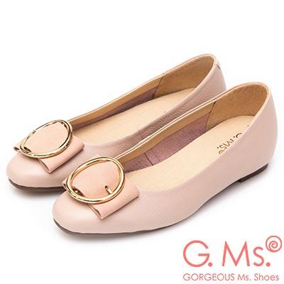 G.Ms. MIT系列-圓釦金屬蝴蝶結牛皮內增高平底鞋-淡粉
