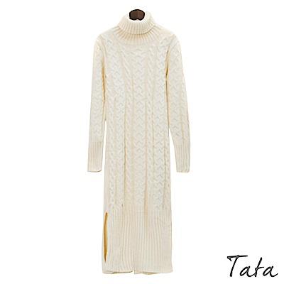 高領開叉下擺針織洋裝 共三色 TATA