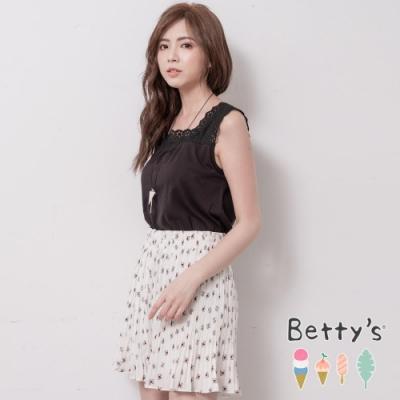 betty's貝蒂思 腰間鬆緊印花百褶褲裙(白色)