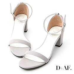 D+AF 恬靜夏氛.簡約一字繫踝中跟涼鞋*灰