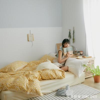 翔仔居家 台灣製 100%精梳棉兩用舖棉被套&床包4件組-絮語 (加大)