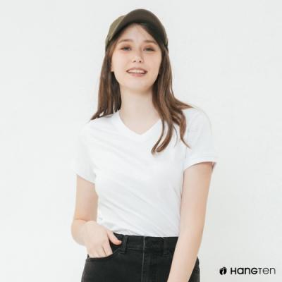 Hang Ten-女裝-有機棉-小V領純色T恤-白