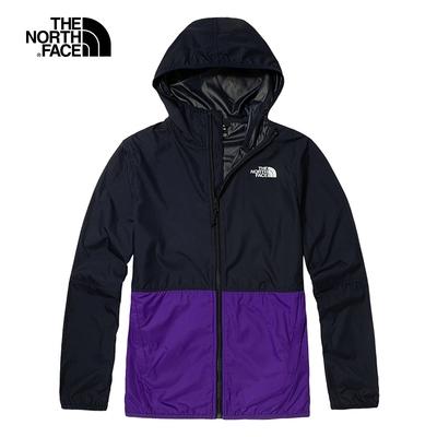 The North Face北面男款藍紫色拼接防潑水連帽外套 4NEF3Z8