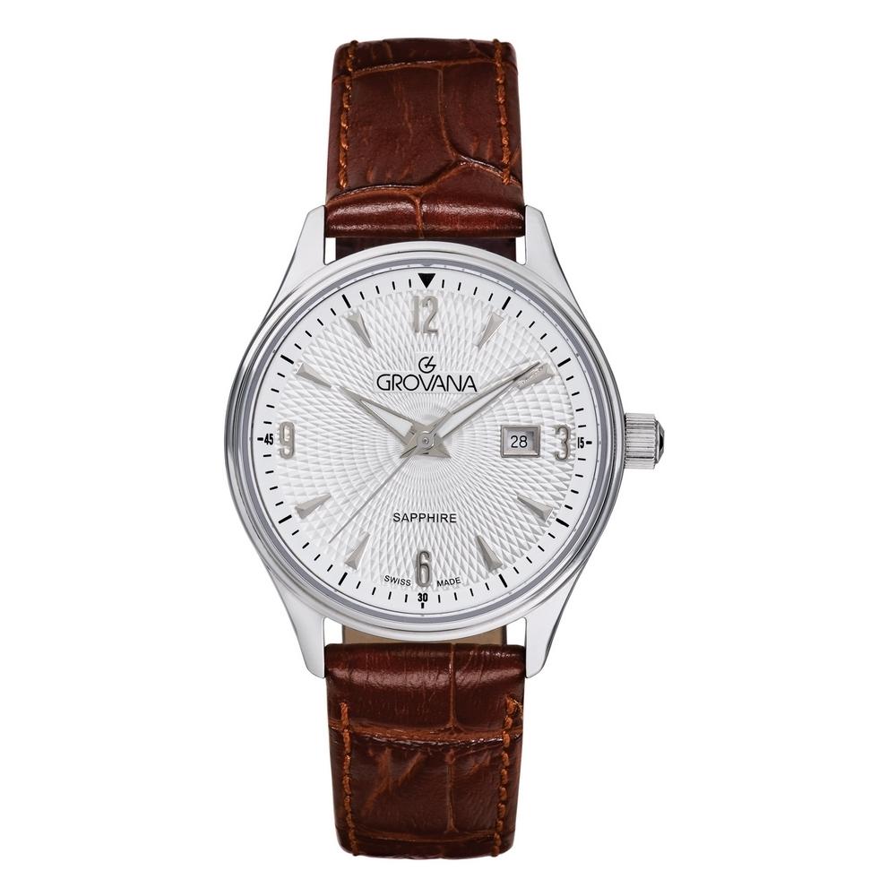 (福利品) GROVANA瑞士錶 經典系列石英女錶(3191.1532)-白面x棕色皮帶/32mm