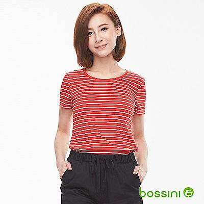 bossini女裝-條紋彈性圓領T恤01暗紅