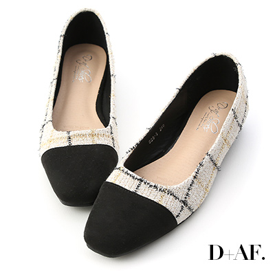 D+AF 優雅冬日.毛呢拼接小方頭低跟鞋*米金