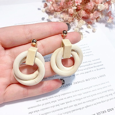 梨花HaNA 韓國木質冷淡風格設計耳環