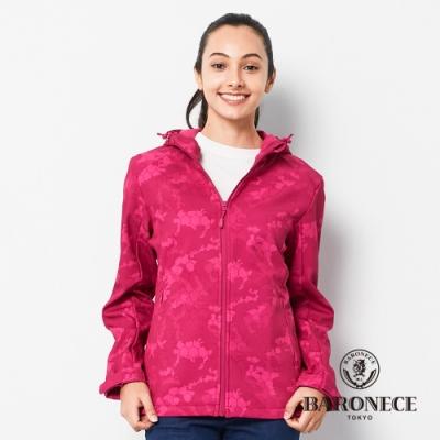 BARONECE 百諾禮士休閒商務  女裝 連帽迷彩軟殼衣外套-玫紅色(2206691-75)