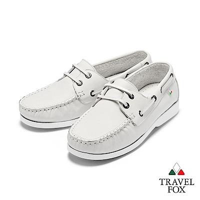 TRAVEL FOX(女) 我的天空 超軟苯染牛皮二孔經典親膚帆船鞋 - 放空白