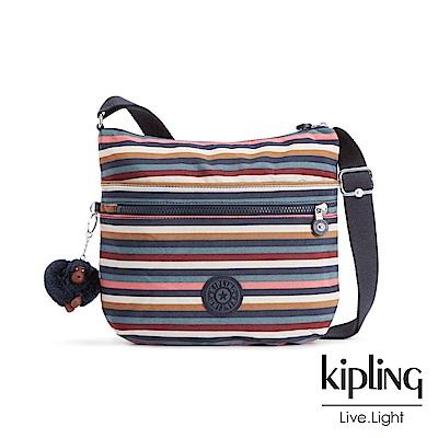 Kipling繽紛仲夏條紋前拉鍊側背包