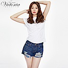 Victoria 星星繡花割破鬚邊短褲-女-藍