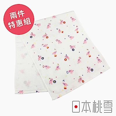 日本桃雪 可愛紗布毛巾超值兩件組(小小馬戲團-大象)