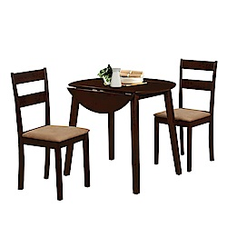 AT HOME-日式簡約胡桃色3尺折疊餐桌椅組(1桌2椅)