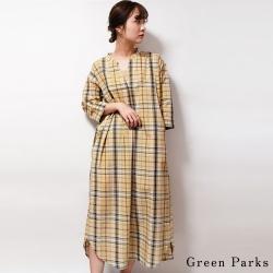 Green Parks 休閒格紋襯衫連身洋裝