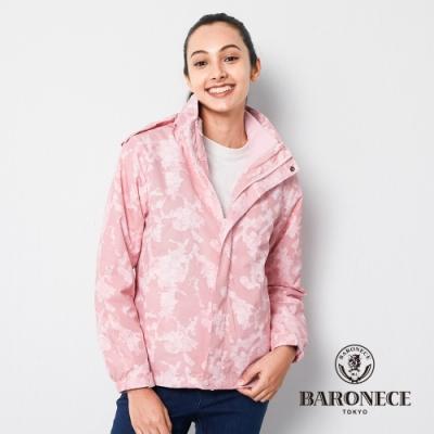 BARONECE 百諾禮士休閒商務 女裝 兩件式鋪棉迷彩連帽夾克外套-粉紅色(2206781-73)