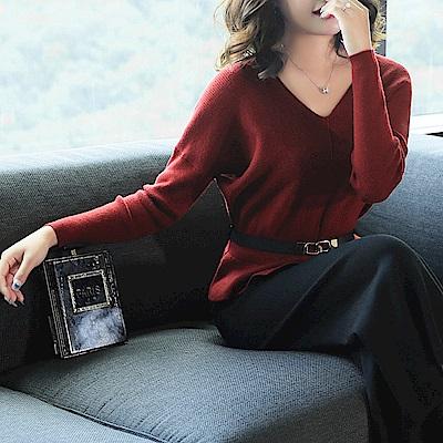 雅致V領針織衫-M~3XL(共七色)-糖潮